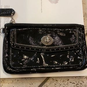 Coach Patent Leather Zip and Front turn lock Flap